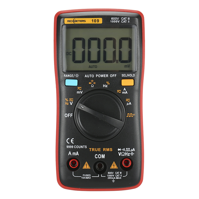 Image 2 - RM109 Palm size True RMS Digital Multimeter 9999 counts Square Wave Backlight AC DC Voltage  Ammeter Current Ohm Auto/Manual-in Multimeters from Tools