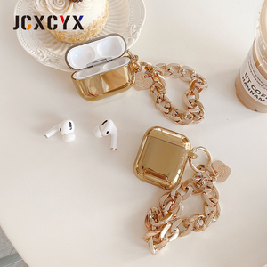 Image 5 - Gold plating pearl coin bracelet keychain chain Wireless Headset bluetooth soft case for Apple AirPods 1 2 cover for airpods pro