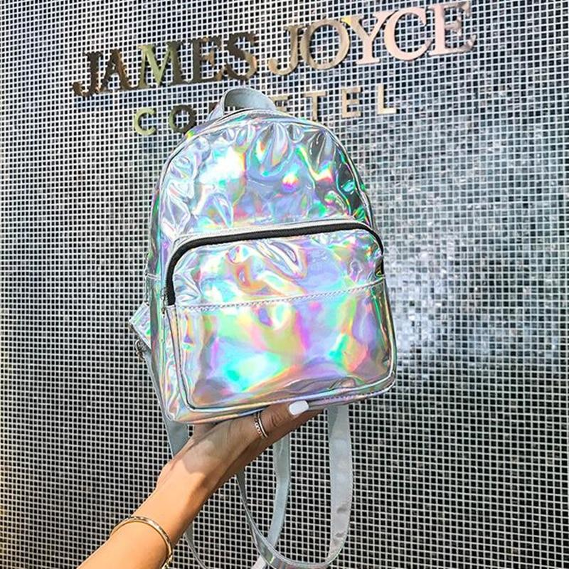 Mini Laser Backpacks For Women Silver Fashion Laser Backpack Youth Bag Teenage Girls Female Korean Trend Personality School Bag