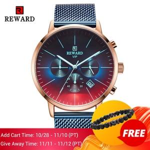 Image 2 - 2020新ファッションカラーガラス高級ブランドクロノグラフ男性のステンレス鋼ビジネス時計男性腕時計時計