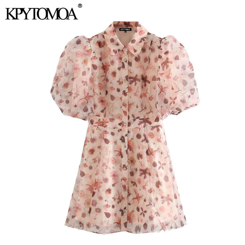 KPYTOMOA Women 2020 Chic Fashion See Through Printed Organza Mini Dress Vintage Lantern Sleeve With Lining Female Dresses Mujer