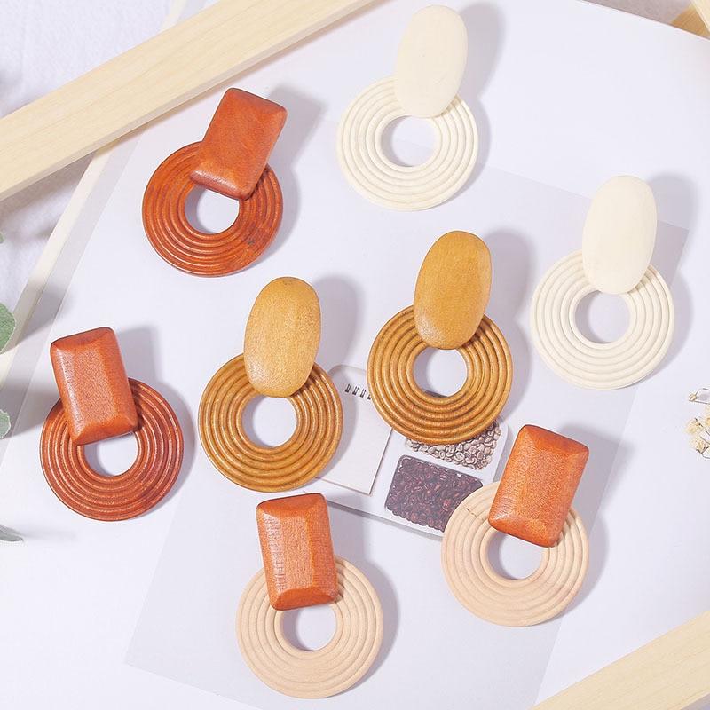 Natural Wood Drop Earrings For Women Fashion Statement Round Dangle Earring Ear Korean Girls Jewelry Gift