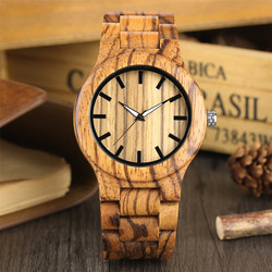 Natural Zebrawood Men Watch Quartz Movement Full Wooden Bangle Wristband Minimalist Black Scale Male Wood Timepiece