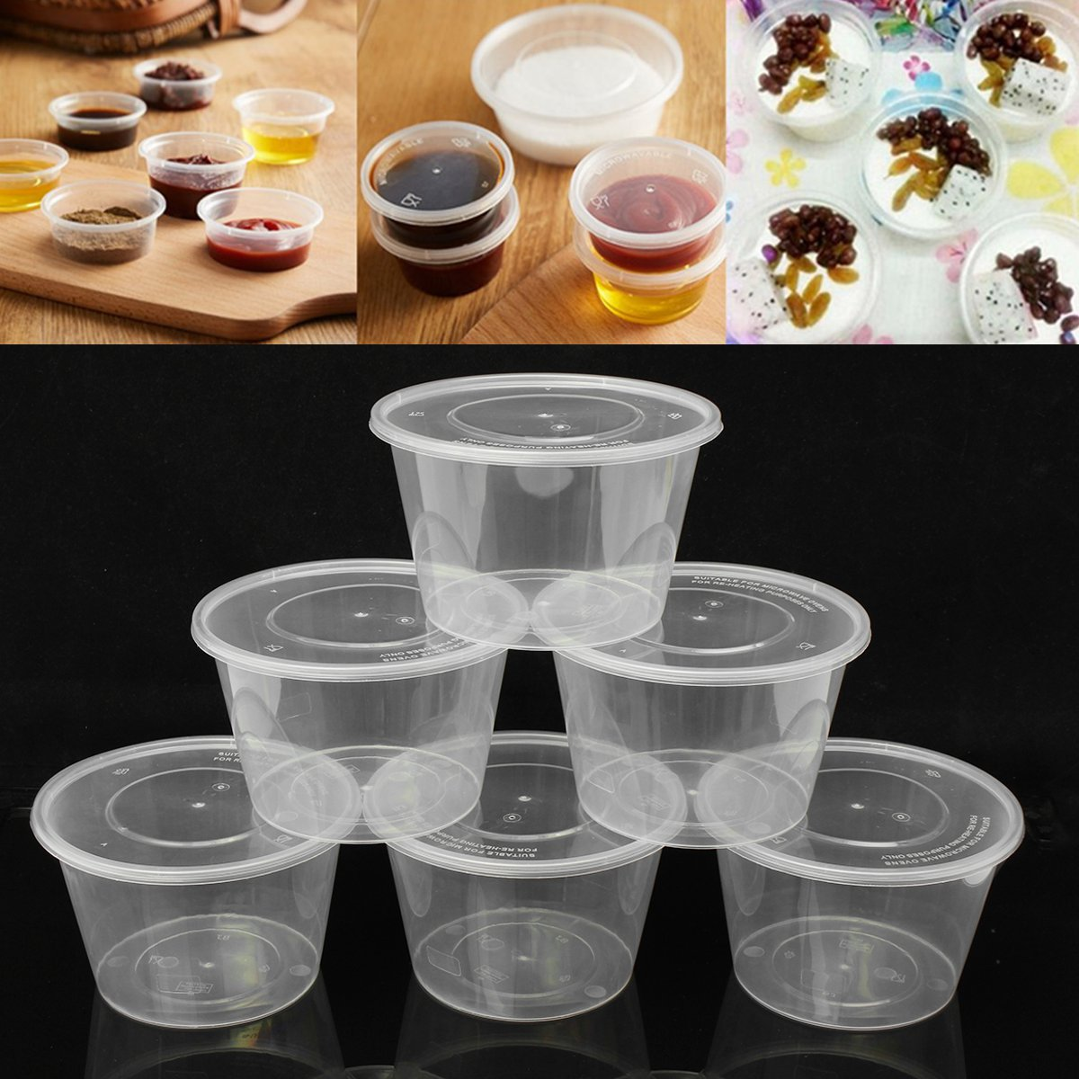 10 Pcs Lot Clear Disposable Portion Cups Condiment Cup With Cover Sauce Yogurt Jelly Pudding Storage Containers Salad Cup Bowl