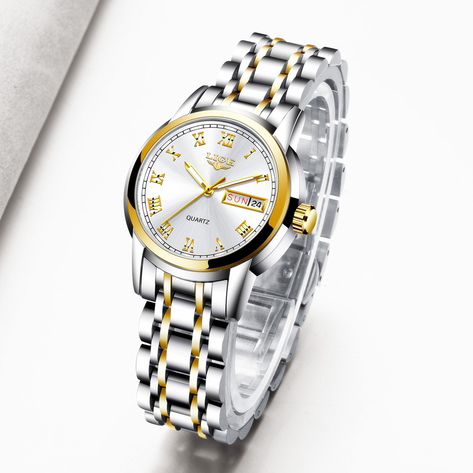 LIGE 2020 Women Watches Luxury Waterproof Wrist Watches Top Brand Steel Strap Quartz Wirst Watch For Women Clock Reloj Mujer
