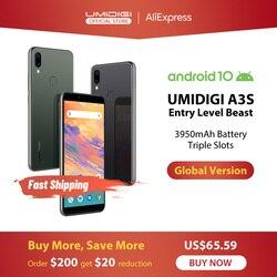 UMIDIGI A3S Android 10 глобальная полоса 3950 мАч двойная задняя камера 5,7 смартфон 13 МП селфи тройные Слоты двойной 4G VoLTE Celular