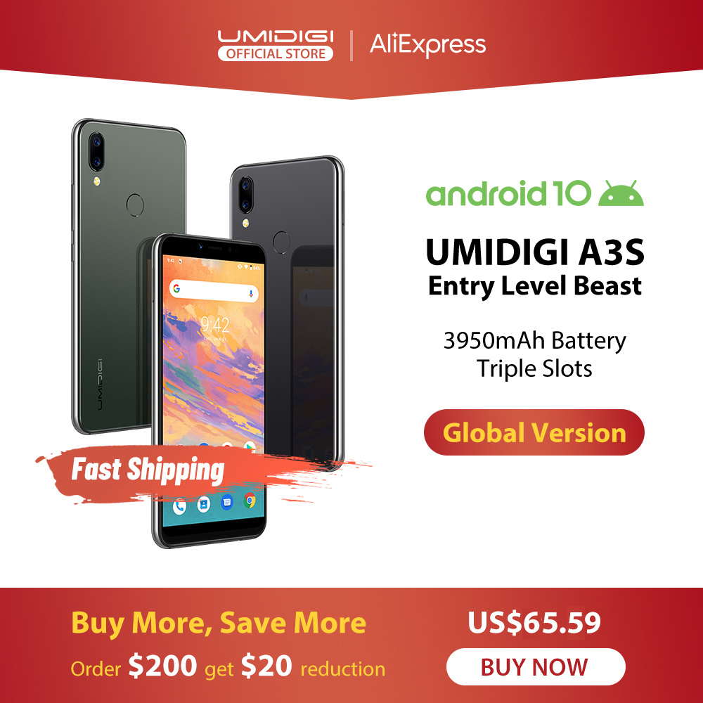 "UMIDIGI A3S Android 10 Global Band 3950mAh Dual Rear Camera  5.7"" Smartphone 13MP Selfie Triple Slots Dual 4G VoLTE Celular"