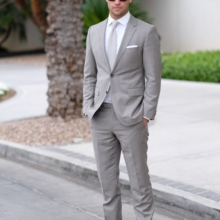 Men Suits Costume Jacket Formal 2pieces Pants Business Latest-Design Light Gray Occasion