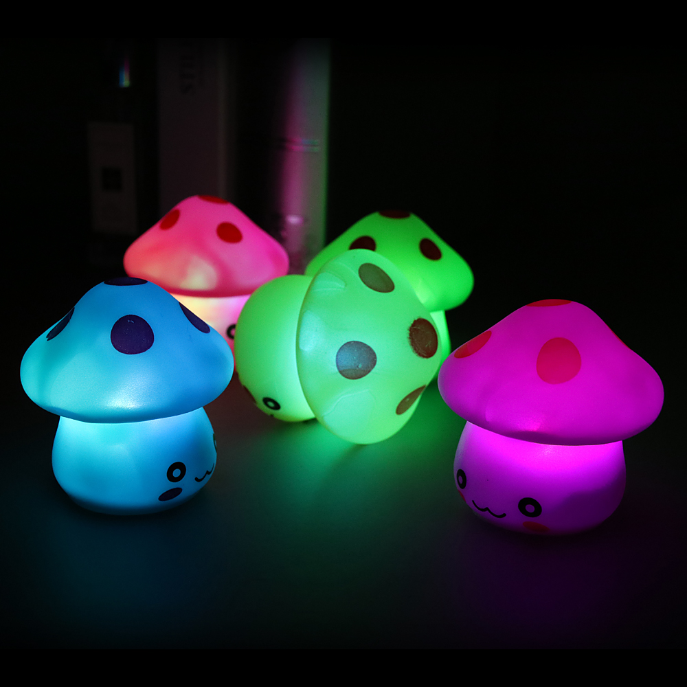 Romantic Colorful Mushroom Lamp LED Night Light Bedroom Desk Bedside Lamp Children Holiday Gift Luminaria Night Lamp Nachtlicht
