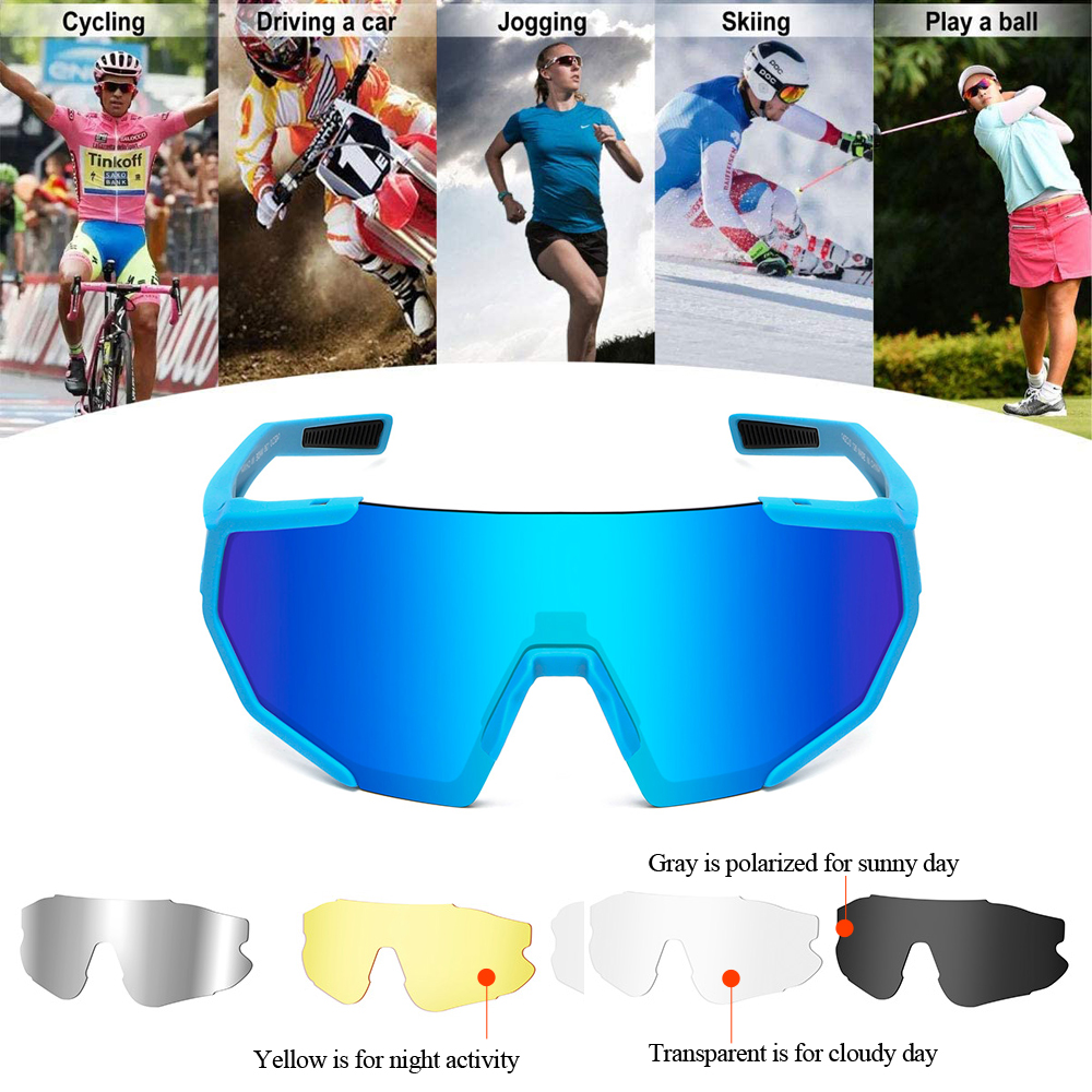 Women Cycling Glasses Polarized Bike Eyewear Orange Frame Cycling Sunglasses 5 Lenses MTBBicycle Goggles