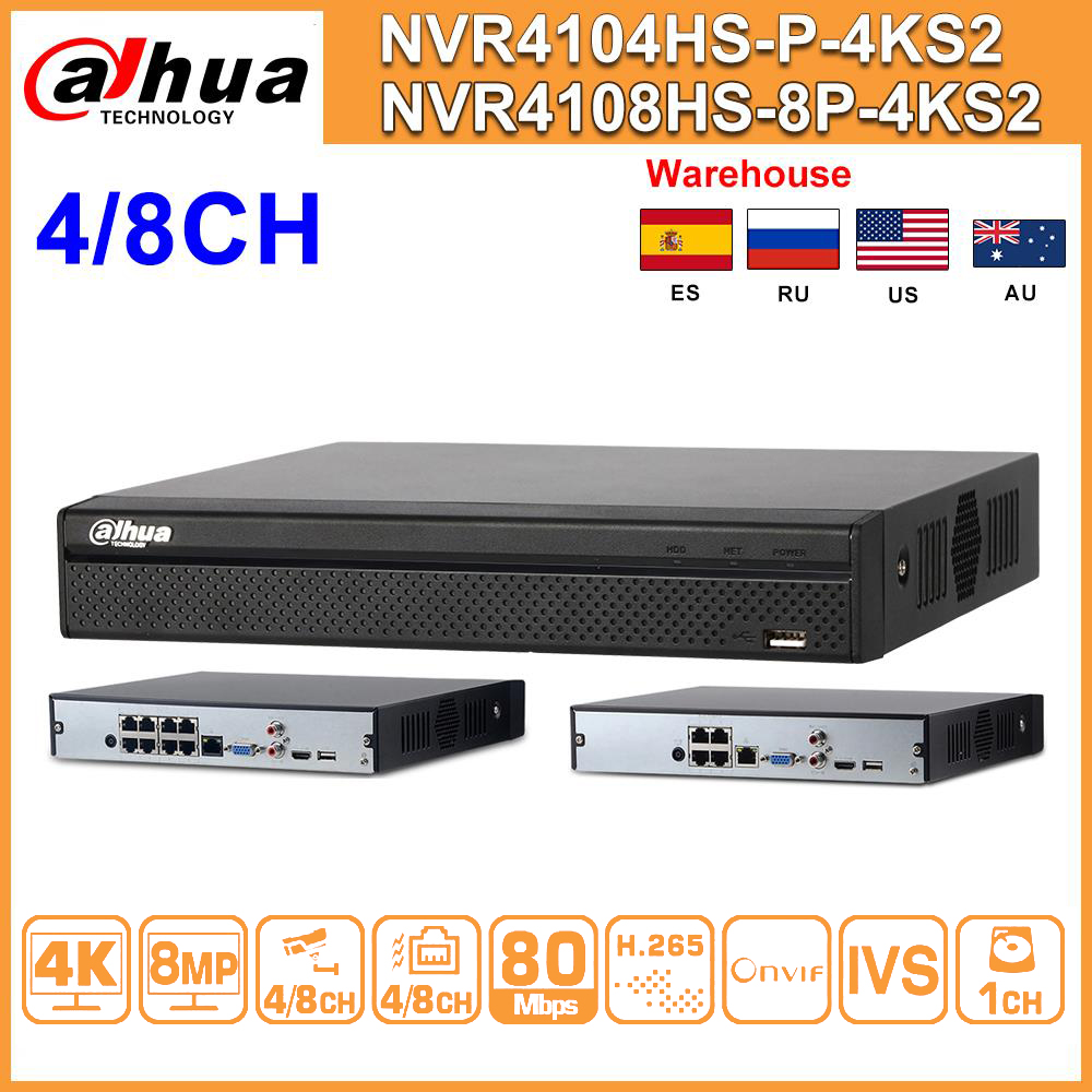 Original Dahua NVR NVR4104HS-P-4KS2 NVR4108HS-8P-4KS2 4/8 CH NVR POE 4K Network Video Recorder With IVS HD 8MP For IP Camera