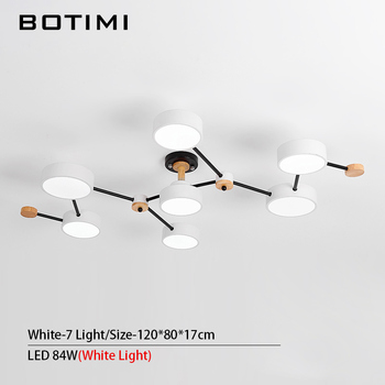BOTIMI Modern Designer 220V LED Chandelier With Gray Metal Lampshade For Living Room White Iron Ceiling Mounted Home Lighting 13