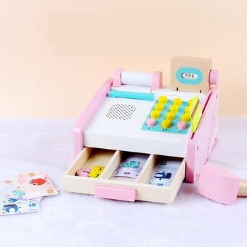цена Baby Girl Wooden Simulation Pretend Play Cash Register Supermarket Set Puzzle Toys Educational Toys for Kids Birthday Gifts онлайн в 2017 году