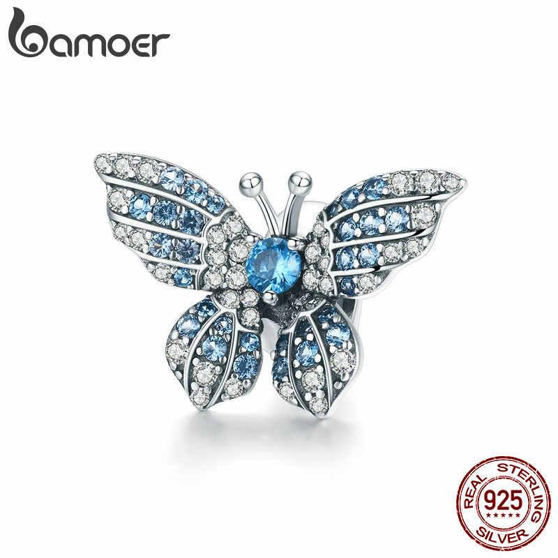 BAMOER 100% 925 ayar gümüş kristal mavi zirkon kelebek boncuk fit Charm bilezikler kadın kolye gümüş takı BSC061
