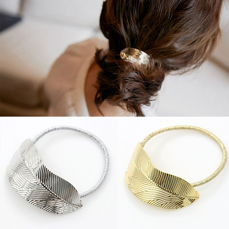 1 Pcs Fashion Gold Color Silver Color Simple Leaves Elastic Rubber Band Head Rope For Girls Hair Accessories