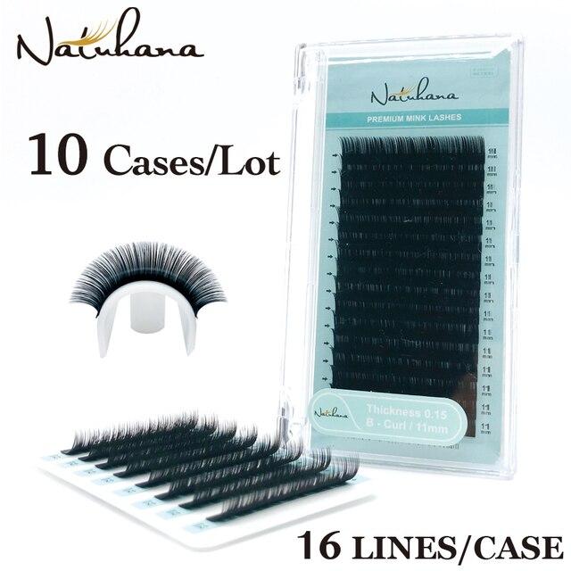 NATUHANA toptan 10 kılıfları/Lot 16 satırlar doğal vizon tek kirpik uzatma Premium bireysel sahte yanlış göz Lashes uzatma