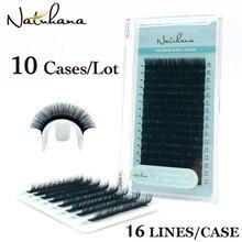Natuhana卸売10ケース/ロット16列ナチュラルミンクシングルまつげエクステンションプレミアム個別偽アイまつげエクステンション