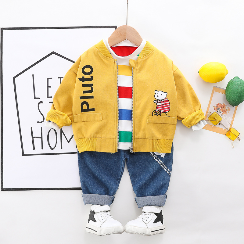 HYLKIDHUOSE Baby Girls Boys Spring Clothing Sets 2020 Toddler Infant Casual Clothes Coats Stripe T Shirt Jeans Children Clothing
