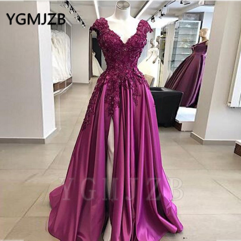 Sexy Purple Beaded Lace Prom Dresses 2020 A line V Neck Cap Sleeve High Slit Formal Royal Blue Evening Gowns Party Dress