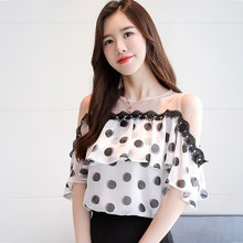 Women New Short Sleeve Polka Dot Print Slash Neck Chiffon Shirt Blouse  Casual Fashion Chiffon Blouse