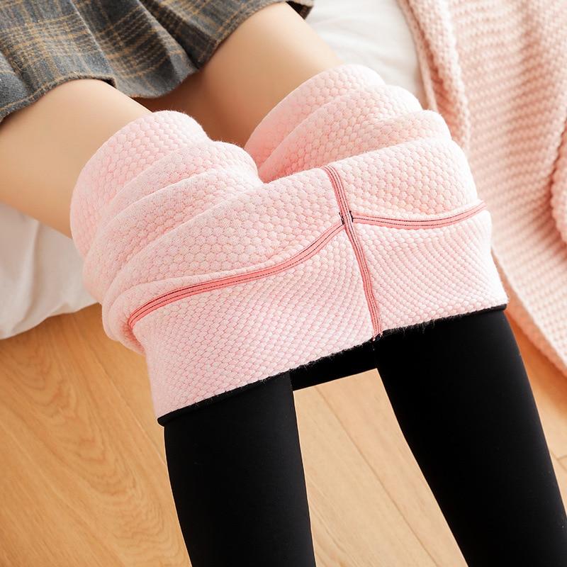 Winter Thick Bubble Cotton Leggings Women Increase Fat Slimming One Pants Cold Warm Cotton Pants 710g Pure Color