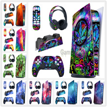 Full Set Skin Decal Digital Edition Sticker Vinyl  Cover for PS5 Controller & Charging Station & Headset & Media Remote