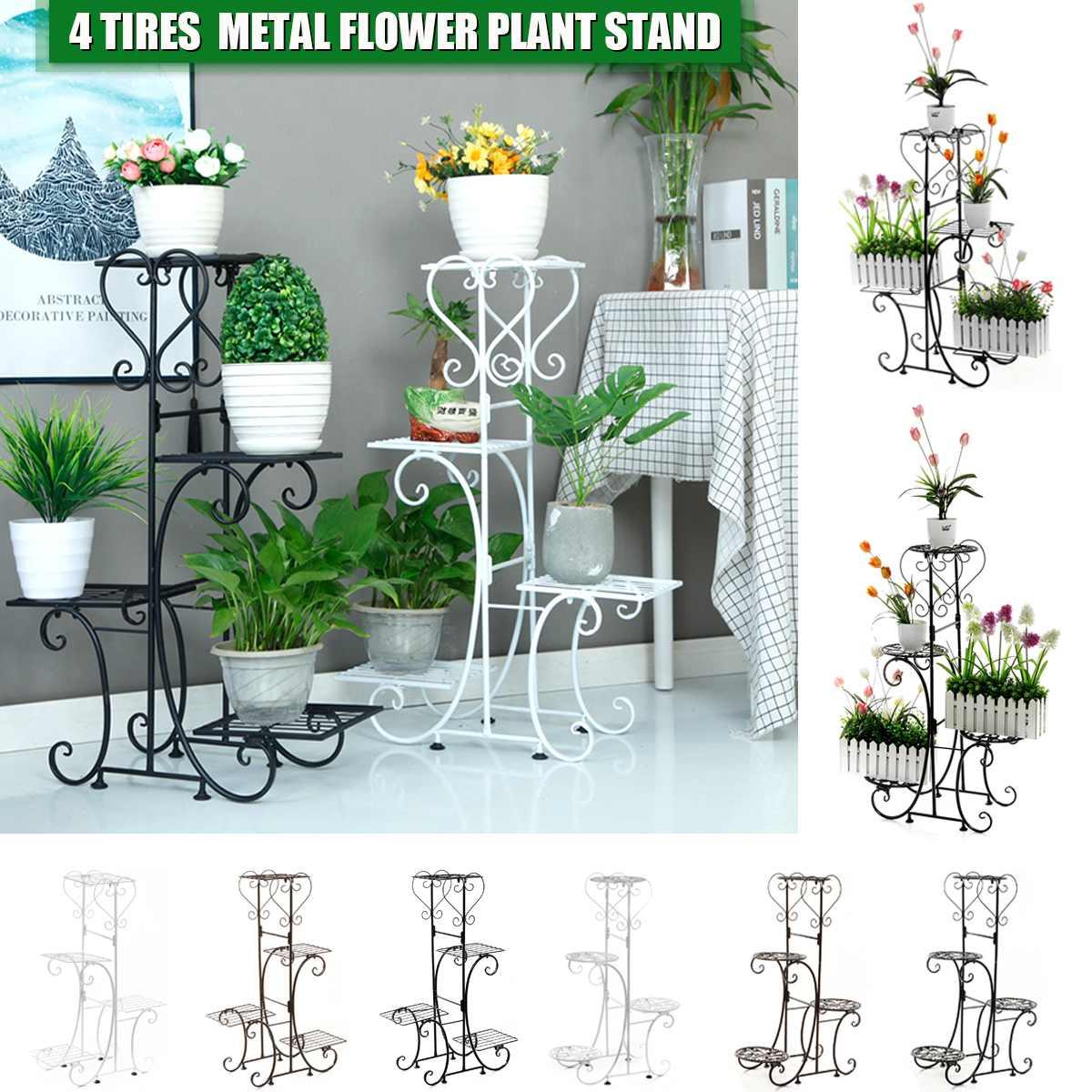4 Tier Metal Plant Stand & Flower Pot Holder Display Home Decor Garden Indoor Outdoor Balcony Flower Storage Rack Adjustable