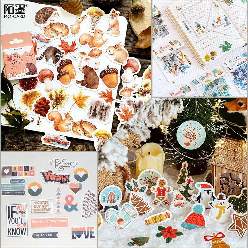 46 Pcs Autumn Stickers Forest Animals Sticker Set DIY Deco Scrapbooking Bullet Journal
