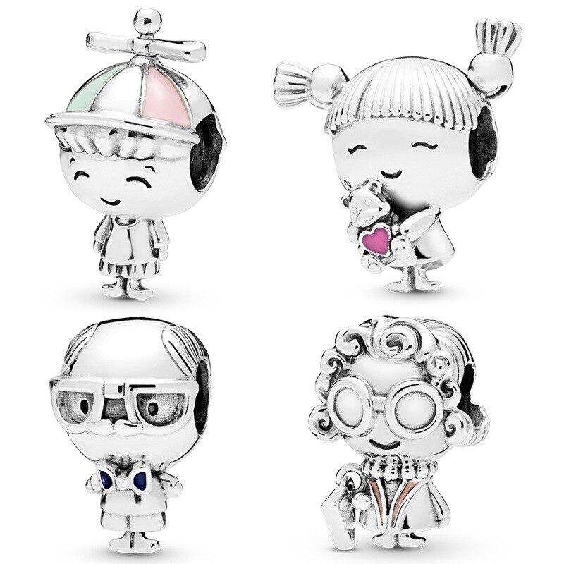 Cute Beautiful 925 Sterling Silver *Angel Boy/&Girl* 6mm CZ Pendant Necklace