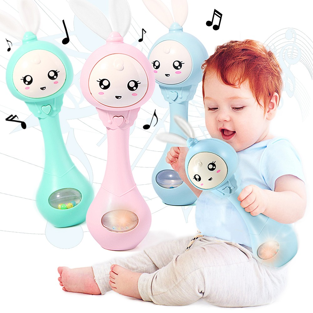 Baby Musical Rattle And Teethers, Sing Rabbit Baby Toy With 6 Classic Songs And Light For Toddlers Infant