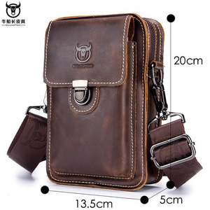 Image 3 - BULLCAPTAIN Crazy horse leather Male Waist Packs Phone Pouch Bags Waist Bag Mens Small chest Shoulder Belt Bag small back pack