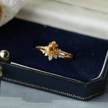 Bague en citrine naturelle pour femme, design Original, diamant, ajustable, rétro, léger, élégant, luxe, breloque