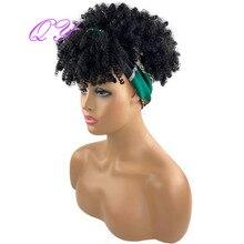 С термическим закреплением изображения волосы парик с головной повязкой для волос афро кудрявый вьющиеся короткие синтетический зеленый т...