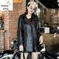 Hohe Qualität Frauen Zweireiher Belted Slim Fit Echtes Leder Jacke Schaffell Langen Graben Mantel Motorrad Casual Oberbekleidung