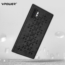 Leather Case for Samsung Galaxy Note 10 Plus Note10 Cover Vpower Weave Texture Anti-knock PU Back Cases