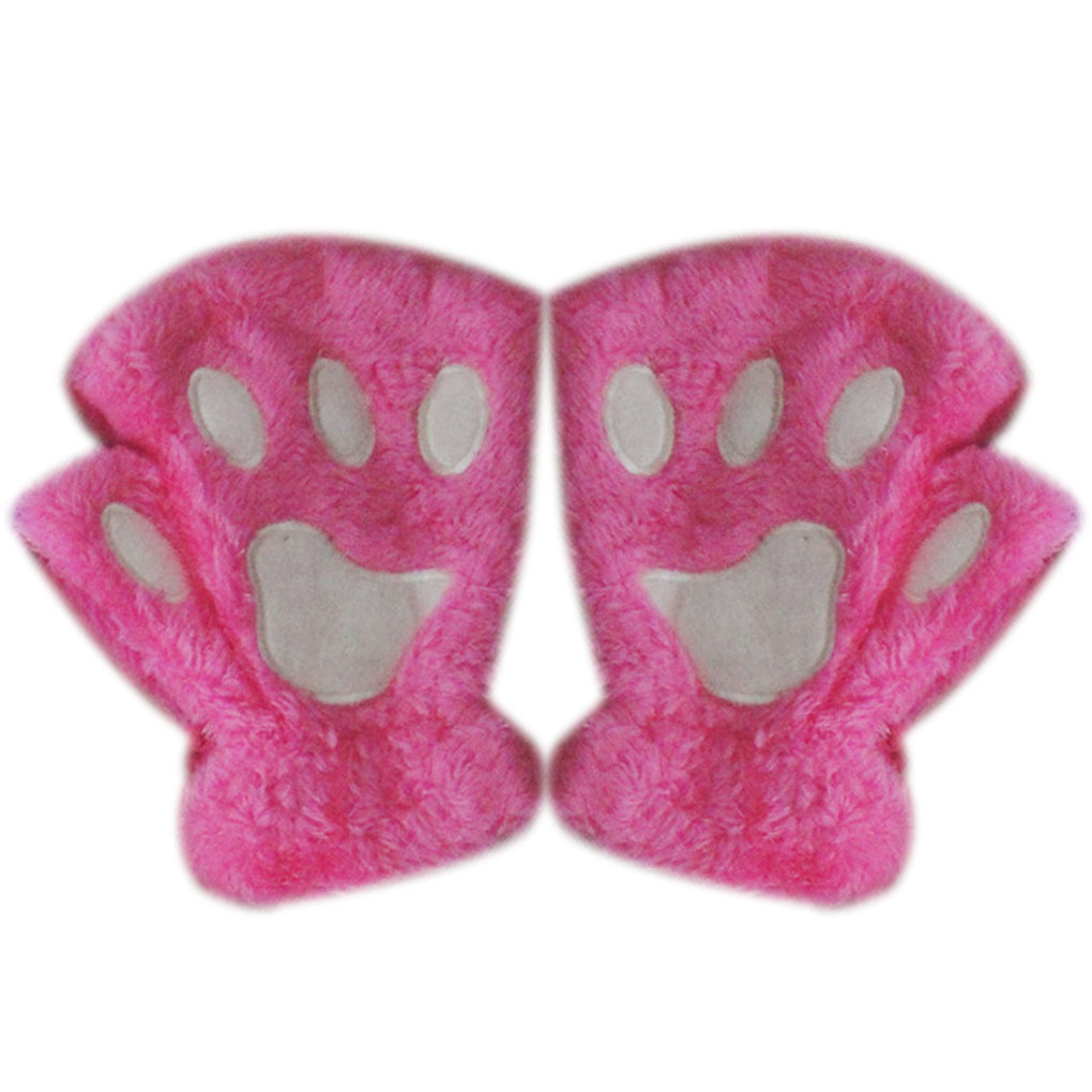 Women Cute Cat Claw Paw Plush Mittens Warm Soft Plush Short  Fluffy Bear Cat Gloves Costume Half Finger Fingerless Gloves