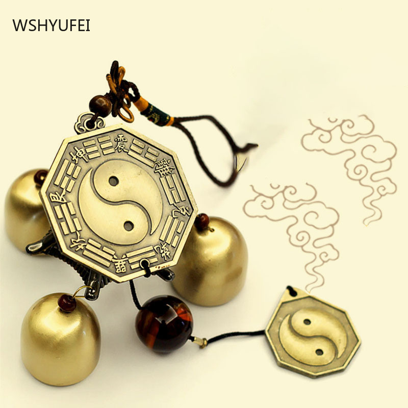 Smooth and delicate metal copper wind chime pendant Pure copper exquisite Feng Shui Huasha town house lucky door bell pendant