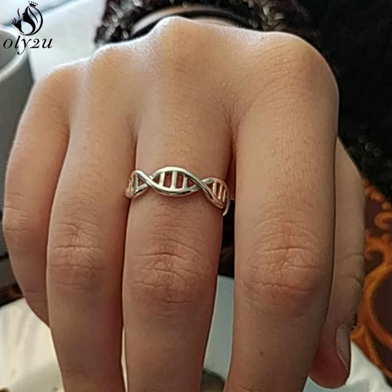 Para mujeres y hombres química moléculas de oro anillo de dedo Regalo Joyería de geometría declaración