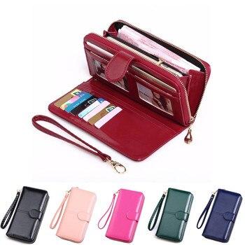 Leather Women Long Zipper Oil Wax Wallet Big Capacity Hasp Zipper Purse Ladies Long Wristlet Clutch Coin Card Holders Portomonee 1