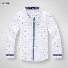 Новые брендовые модные детские рубашки г. Хлопковые рубашки с длинными рукавами и принтом якоря для мальчиков детские рубашки для От 3 до 12 лет