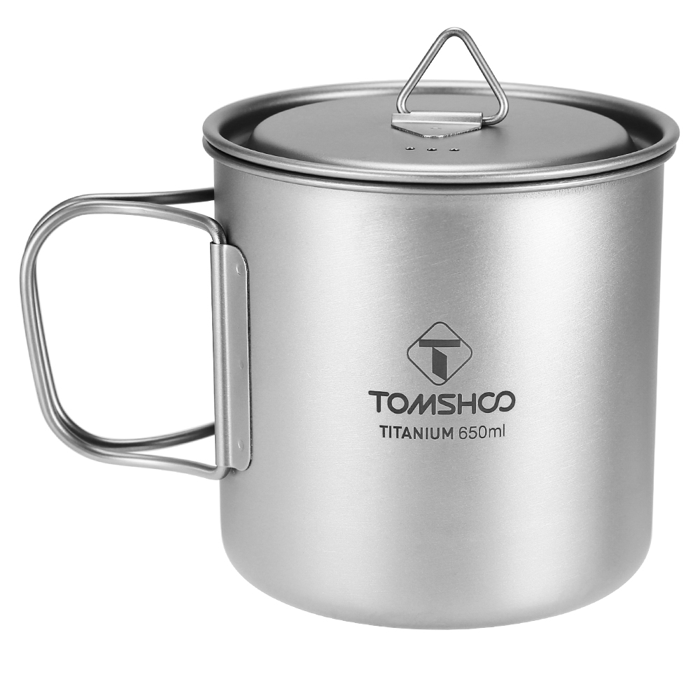 TOMSHOO 400ml Titanium Water Cup Outdoor Camping Coffee Mug with Handle US H8R7