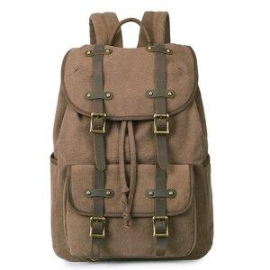 Открытый Винтажный холщовый рюкзак из натуральной кожи для путешествий для мужчин и женщин