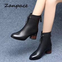 ZANPACE 2019 Leather Women's Boots Winter Black Plus Velvet Thick Warm Women's Shoes