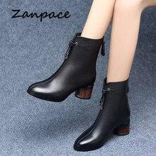 ZANPACE 2019 Leather Women's Boots Winter Black Plus Velvet Thick Warm Women's S