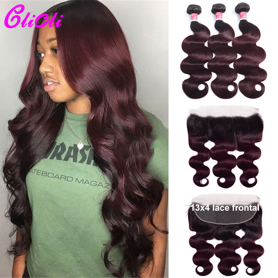 1B 99J Body Wave Hair Bundles With Frontal Malaysian Remy Human Hair Weave Bundles With Closure 13x4 Ear To Ear Lace 150 Density