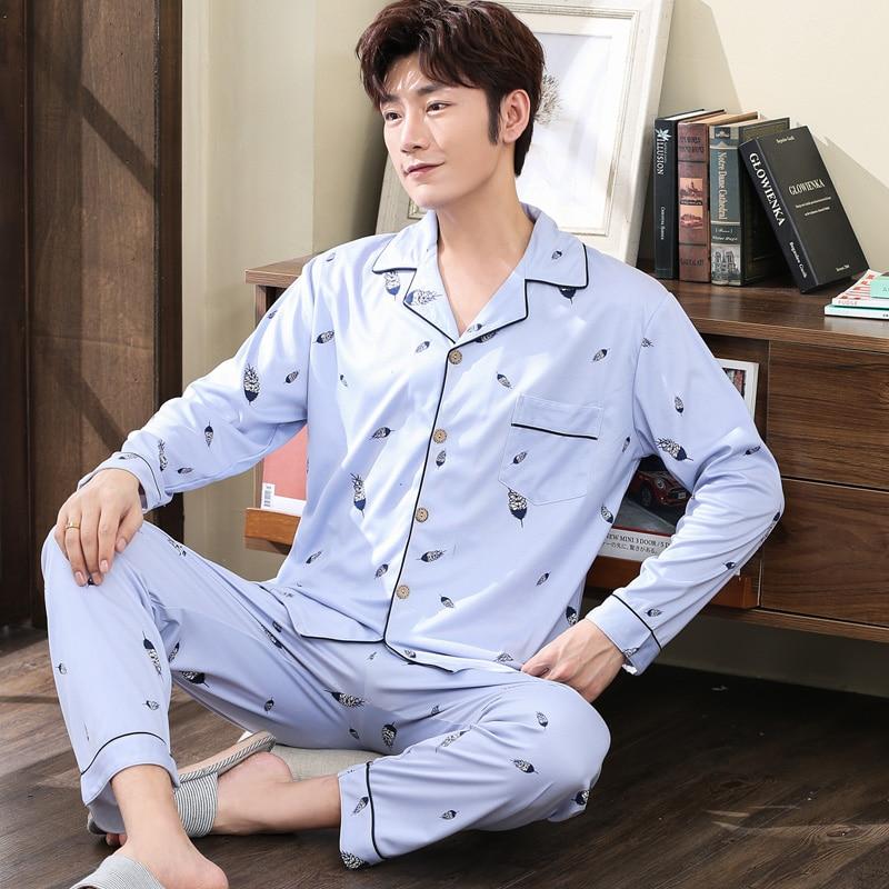 2019 New Style Men's Pajamas Set Autumn Winter Warm Cotton Male Pajamas Sets Long Sleeve Sleepwear Top +Pant Leisure Wear Cloth