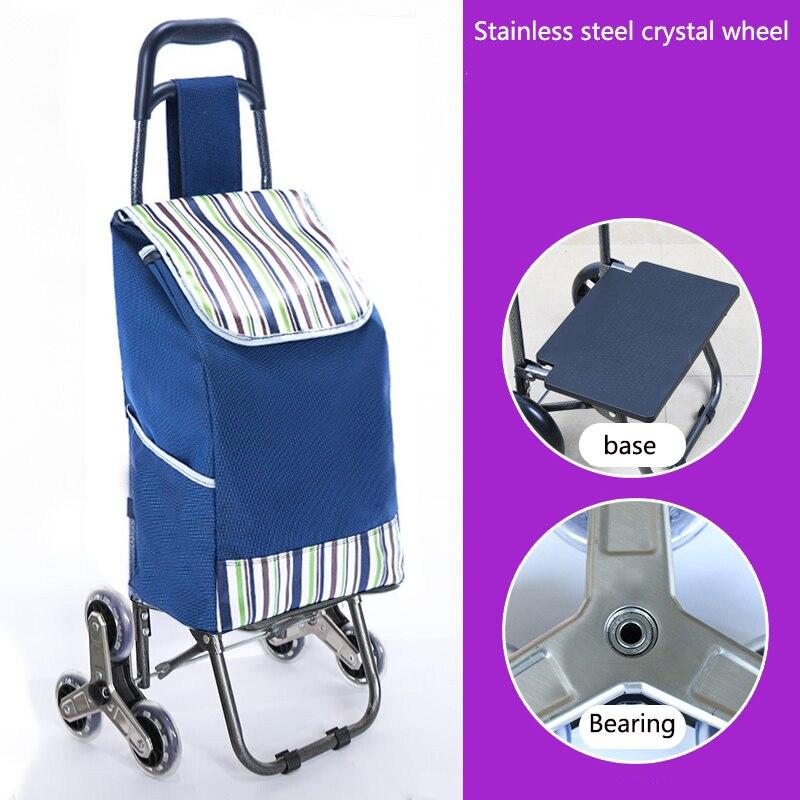 Поднимайтесь вверх, тележка для покупок, большие товары, товары, чехол на колесиках, складная тележка для прицепа, бытовая Портативная сумка для покупок, женская сумка - Цвет: Upgrade style 3