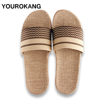 Couple Home Slippers Summer Men Shoes Flax Slippers High Quality New Indoor Floor MaleLinen Slipper Slides Unisex For Lovers цена 2017