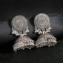 Ethnic Women's Silver Color Bells Indian Jewelry Gypsy Earrings Pendientes Piercing Vintage Tribe Tassel Jhumka Earrings Jewelry