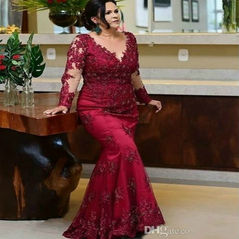 Elegant Burgundy Mother Of The Bride Dresses Plus Size Mermaid Long Sleeve Lace Formal Party  Dress 2019 Robe De Soiree Vestidos